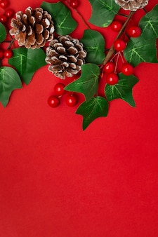 Mistletoe and pine cones on red table