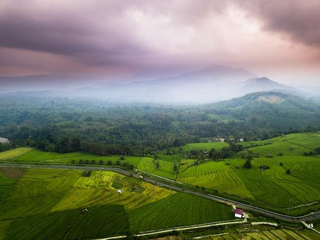 Misty morning mountain range, north bengkulu