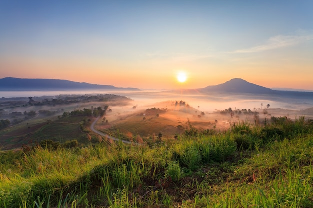 Misty morning sunrise in khao takhian ngo view point at khao-kho phetchabun