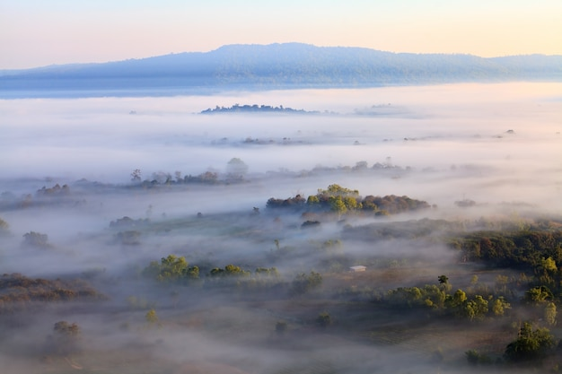 Misty morning sunrise in khao takhian ngo view point