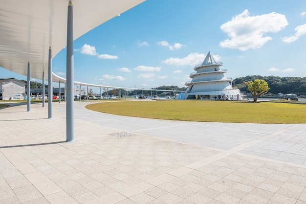 Misumi port umi no pyramid, pyramid of the sea, shape of a ferry shelter, walkway both inside and outside