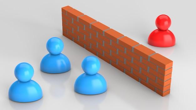 ビジネスマン間の誤解はビジネスマンと彼らの間のレンガの壁を衝突させます