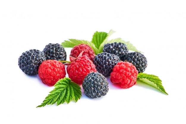 Mix berries with leaf. various fresh berries isolated . raspberry, blackberry.