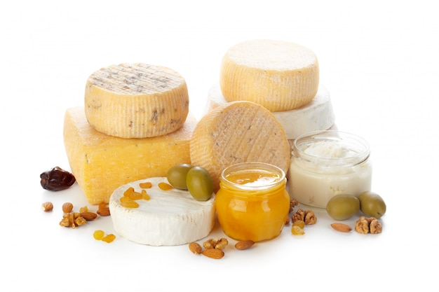Mix cheese isolated on white