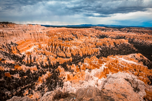Mix of colors in the canyon at inspiration point in bryce national park. utah, united states