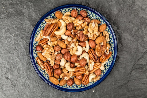 Mix of different nuts closeup