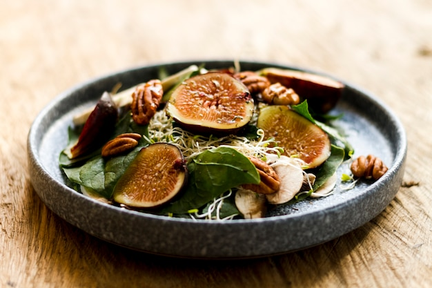 Mix of figs and nuts on plate