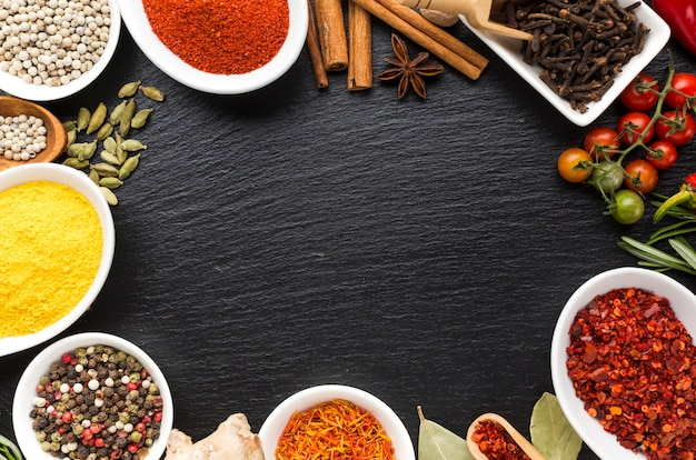 Mix of flavored spices powder on table