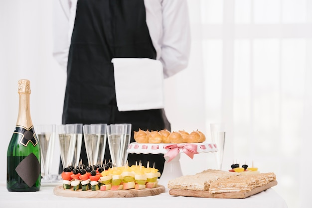 Mix of food and drinks set on a table
