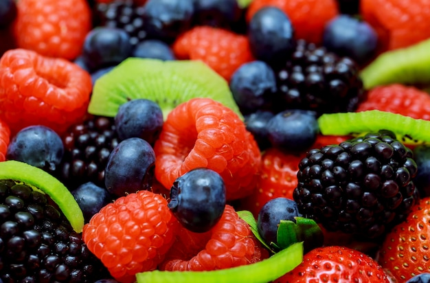 Mix of fresh berries in a basket
