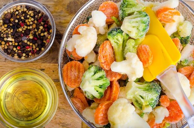 Mix of frozen vegetables. studio photo