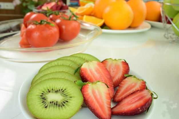Mix fruits.fresh fruits close up. dieting concept composition with assorted raw organic ve