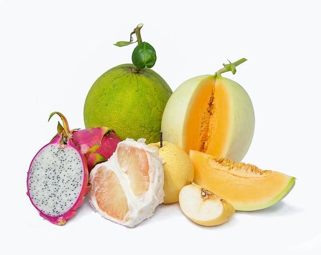 Mix fruits, white chinese pear, green pomelo, red dragon fruit, orange cantaloupe