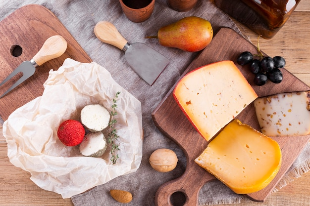 Mix of hard cheese on table