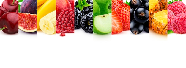 Mix of healthy food with copyspace, fruits and berries collection