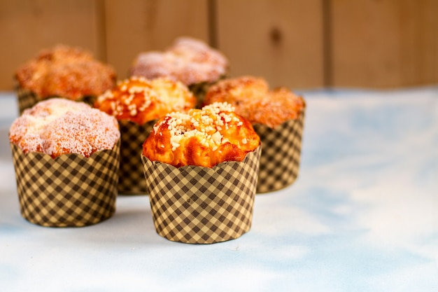 Mix muffins on table