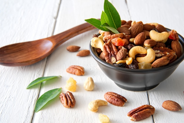 Mix nuts and dried fruits background and wallpaper.