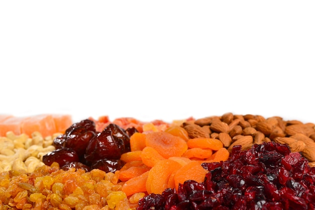 Mix of nuts and dried fruits and sweet turkish delights background.
