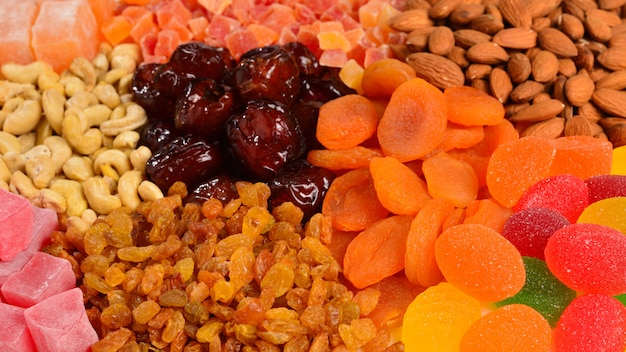 Mix of nuts and dried fruits and sweet turkish delights