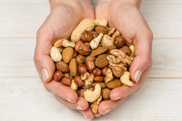 Mix of nuts in hands