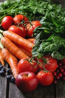 果物、野菜、果実のミックス