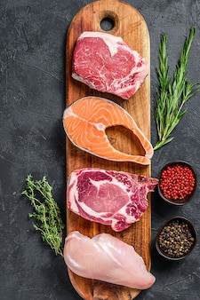 肉生ステーキサーモン、ビーフ、ポーク、チキンのミックス