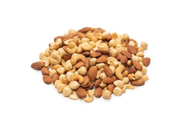 分離されたナッツのミックス上面図