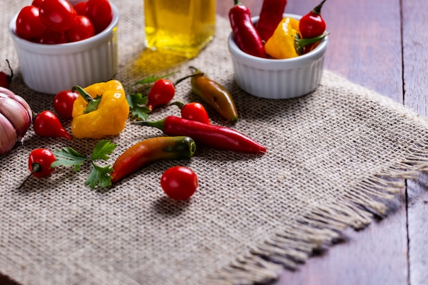 Mix of peppers with tomato, garlic and olive oil.