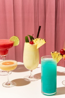 Mix of retro cocktails on a bar counter