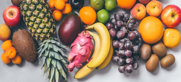 Mix tropical fruits banner top view