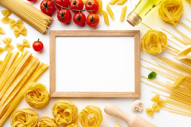 Mix of uncooked pasta tomatoes and frame mock-up