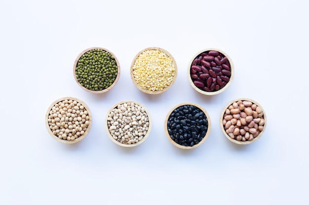 Mixed beans, different legumes isolated on white background.