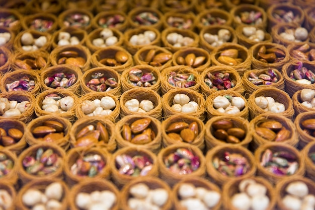 Mixed bird nest baklava with almonds, nuts and pistachios