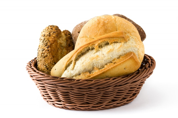 Mixed bread in basket on white
