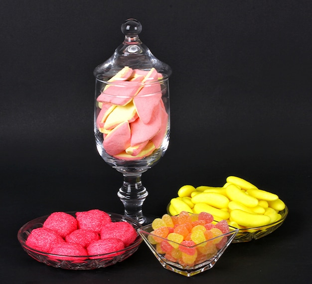 Mixed colorful jelly candies and marshmallows