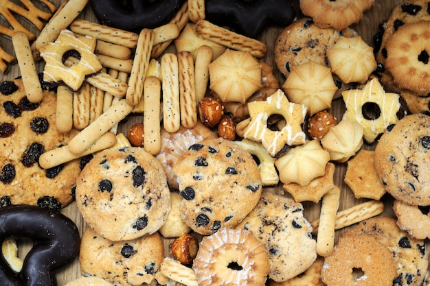 Mixed cookies background close up