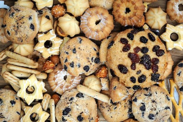 혼합 된 쿠키 배경 가까이