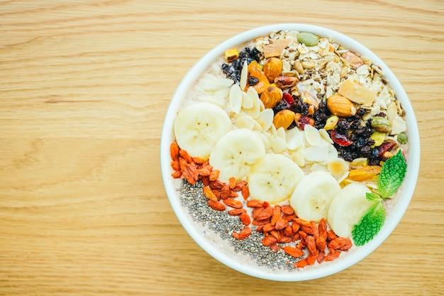 Mixed fruit with muesli and granola