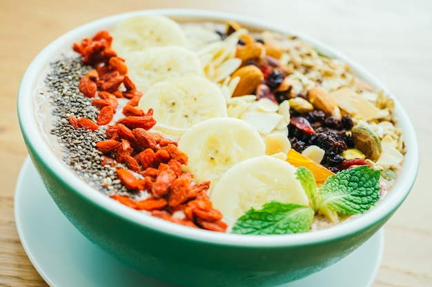 Mixed fruit with muesli and granola