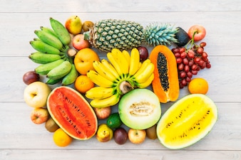 Mixed fruits with apple banana orange and other