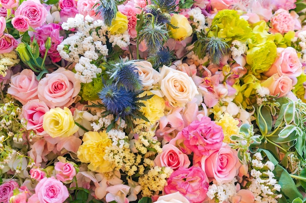 Mixed multi colored roses in floral decor