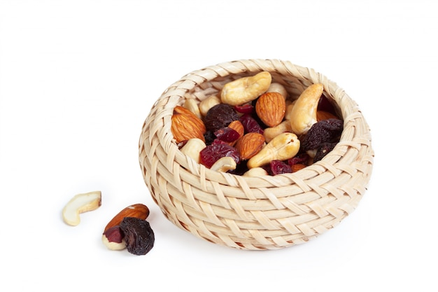 Mixed nuts isolated on the white