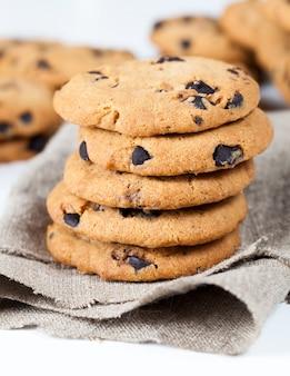 Mixed oatmeal and wheat flour cookies closeup