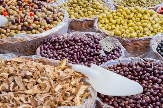 Mixed olives in market