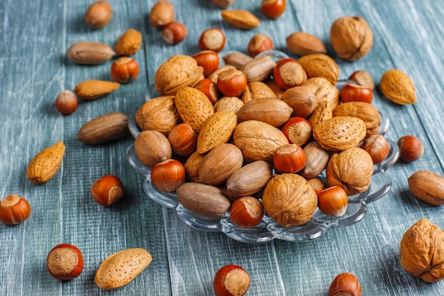 Mixed organic nuts with shell.