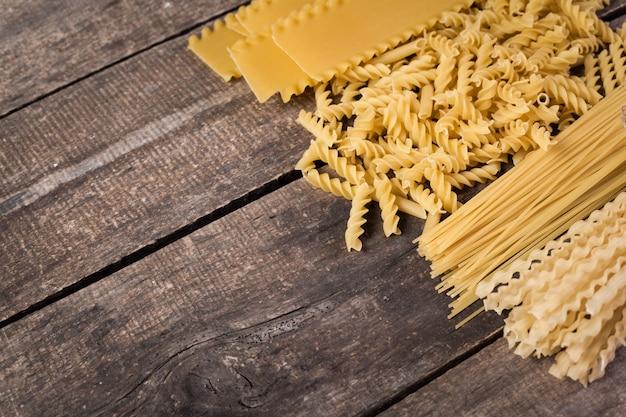 Mixed pasta top view