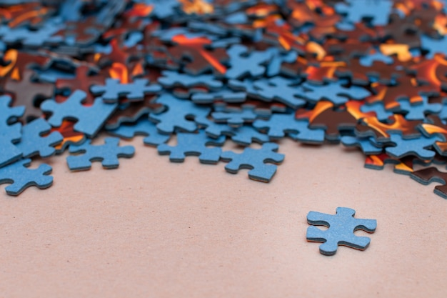 Mixed peaces of the colorful jigsaw puzzle