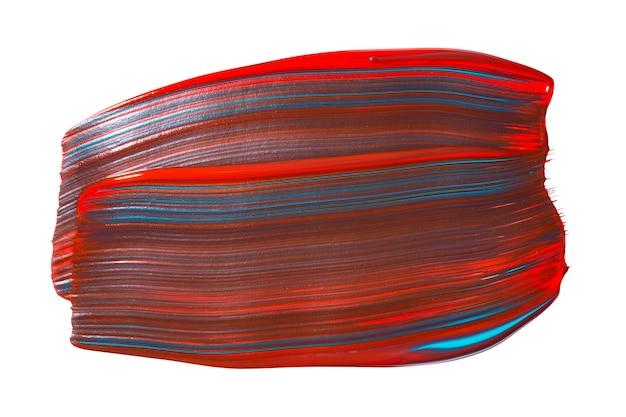 白地に分離された赤と青の混合ブラシストローク。抽象的なカラフルな水彩ブラシストローク。