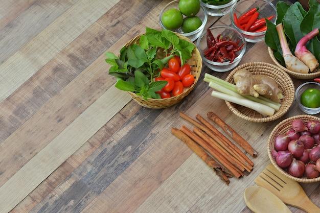 Mixed spices (tomato, lime, chili, lemongrass,ginger, kaffir lime leaf, kale, onion,