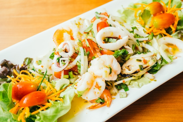 Mixed spicy seafood salad with thai style
